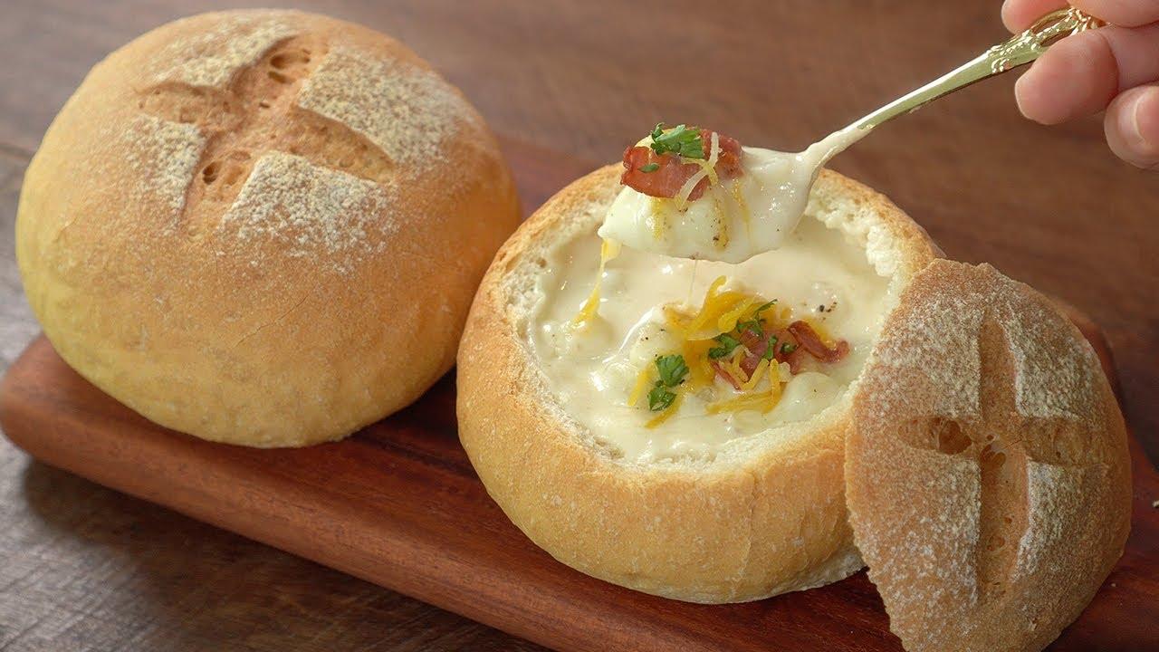 스프에 빵 찍어 먹고 싶을때, 바게뜨 빵과 초간단 감자스프 만들기 :: 브런치만들기 :: Baguette Bowl with Potato Soup