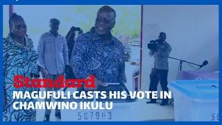 Incumbent President Pombe Magufuli casts his vote in Chamwino Ikulu- Tanzania