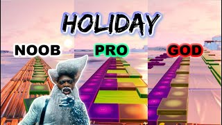 Lil Nas X - HOLIDAY - Noob vs Pro vs God (Fortnite Music Blocks) with Map Code!