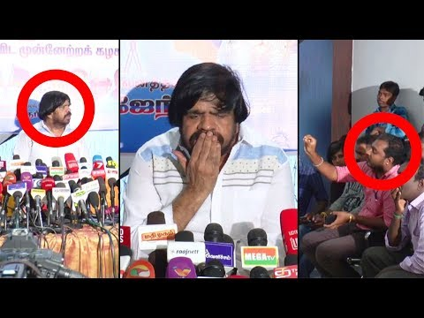 T Rajendar angry fight with Press reporter on stage | Heated Argument