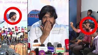 T Rajendar angry fight with Press reporter on stage   Heated Argument