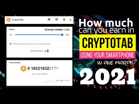 HOW MUCH CAN YOU EARN IN CRYPTOTAB FOR A MONTH IN 2021 | MOBILE BITCOIN MINER 2021