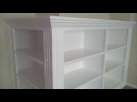White lacquer finish sprayed on book shelf cabinet