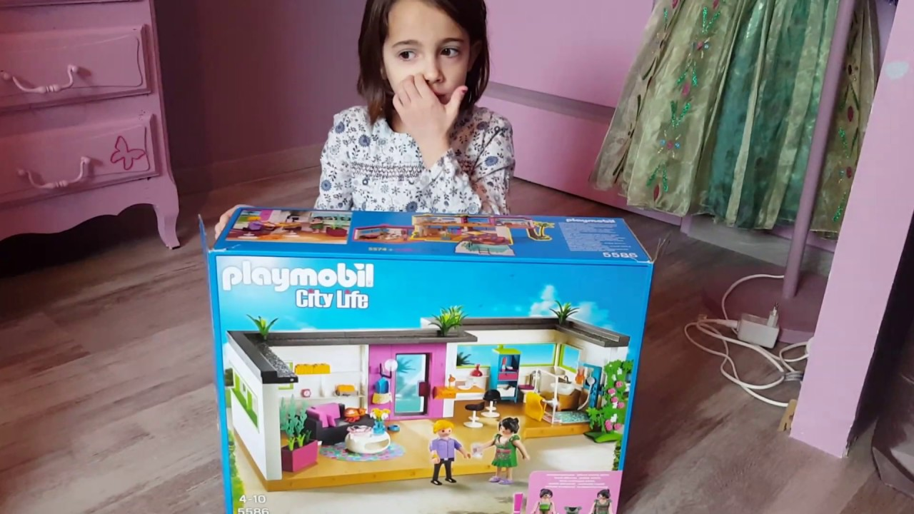 Ouverture du studio des invit s de la maison moderne playmobil youtube for Maison moderne playmobil