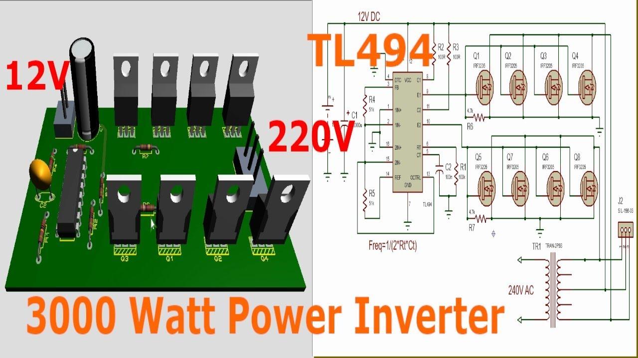 [SCHEMATICS_48IU]  TL494 Inverter Circuit 3000W Complete video tutorial (12 - 220V AC) -  YouTube | 2000 W Inverter Circuit Diagram |  | YouTube