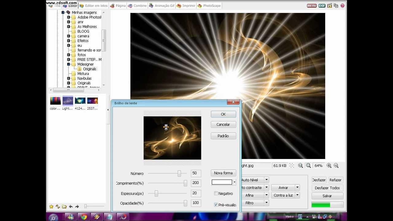 efeito de luz para o photoscape