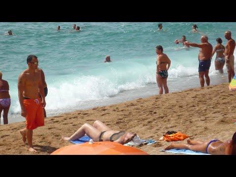 Blanes beach waves - Costa Brava, Catalonia, Spain