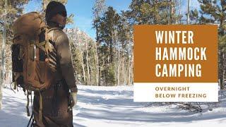 Winter Hammock Camping overnight below Freezing