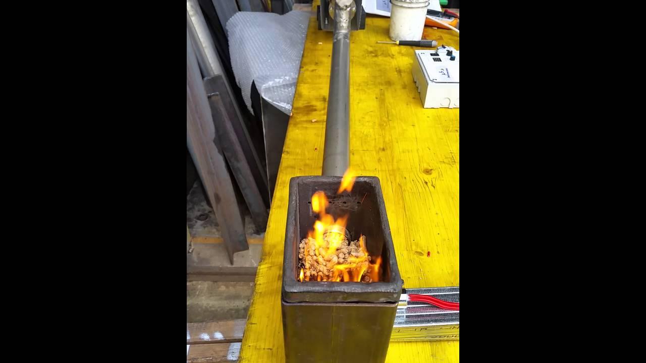 bruciatore pellet termocamino fai da te youtube