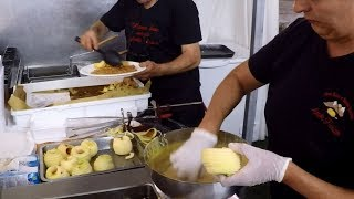 Italy Street Food. Cutting and Frying 'Frittelle di Mele',  Apple Fried Pancakes