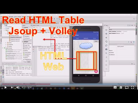 Android Studio #9: Read HTML Webpage with HTML Table with Jsoup + Volley