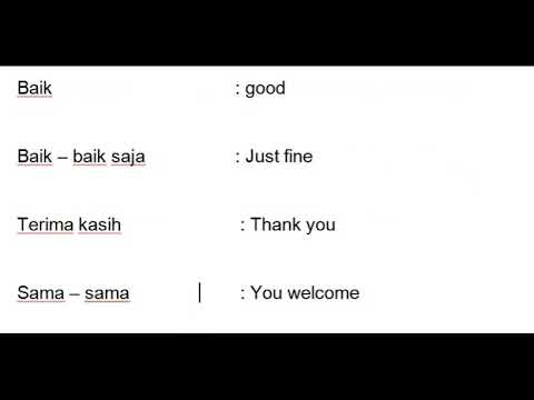 Indonesian For Beginners - Lesson 1