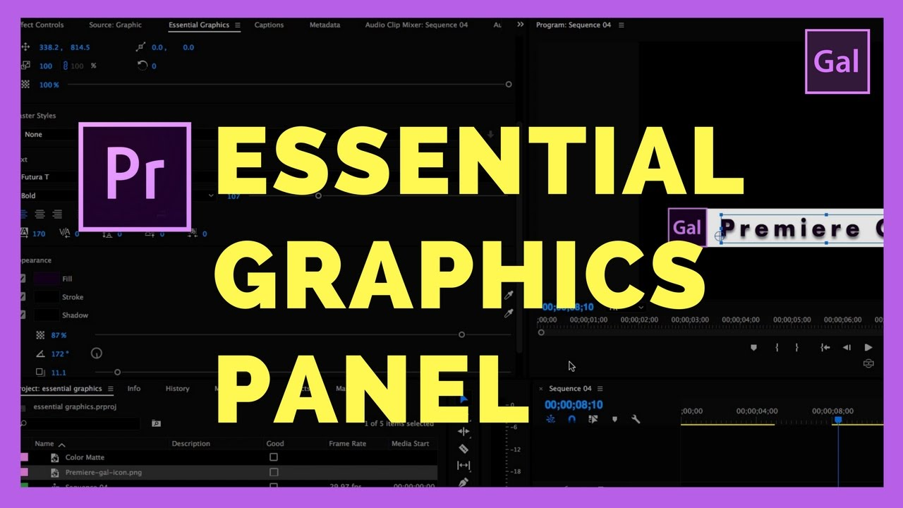 The New Essential Graphics Panel In Adobe Premiere Pro Cc 2017 Spring Update Youtube