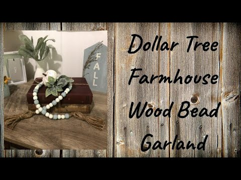 DIY Dollar Tree Farmhouse Wood Bead Garland