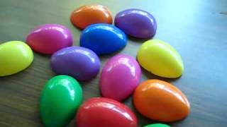 Grade 1 - Second Language activity game: Plastic colored eggs and vocabulary words.