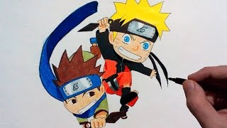 Chibi Konohamaru Sarutobi and Naruto Uzumaki – Speed Drawing