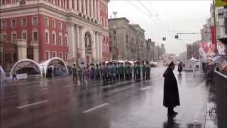 "Heavy rain during the parade bands at the Military Music Festival ""Spasskaya Tower 2015"" in Moscow"
