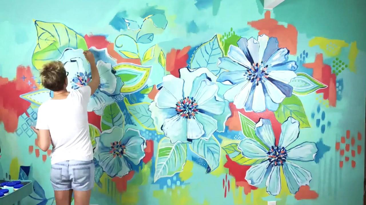 Large Funky Flower Mural