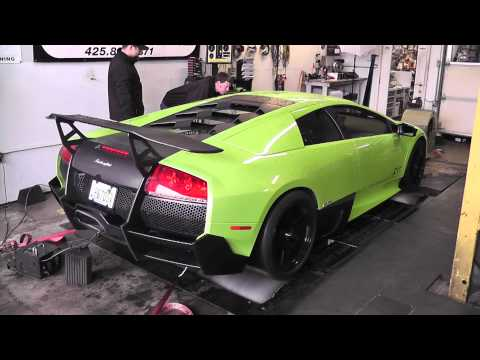 Lime Green LAMBORGHINI Murcielago LP 670-4 SV on the DYNO!!!