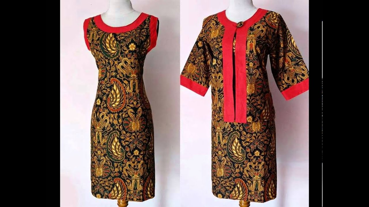 Baju Kerja Batik Sogan Model Cardigan Youtube