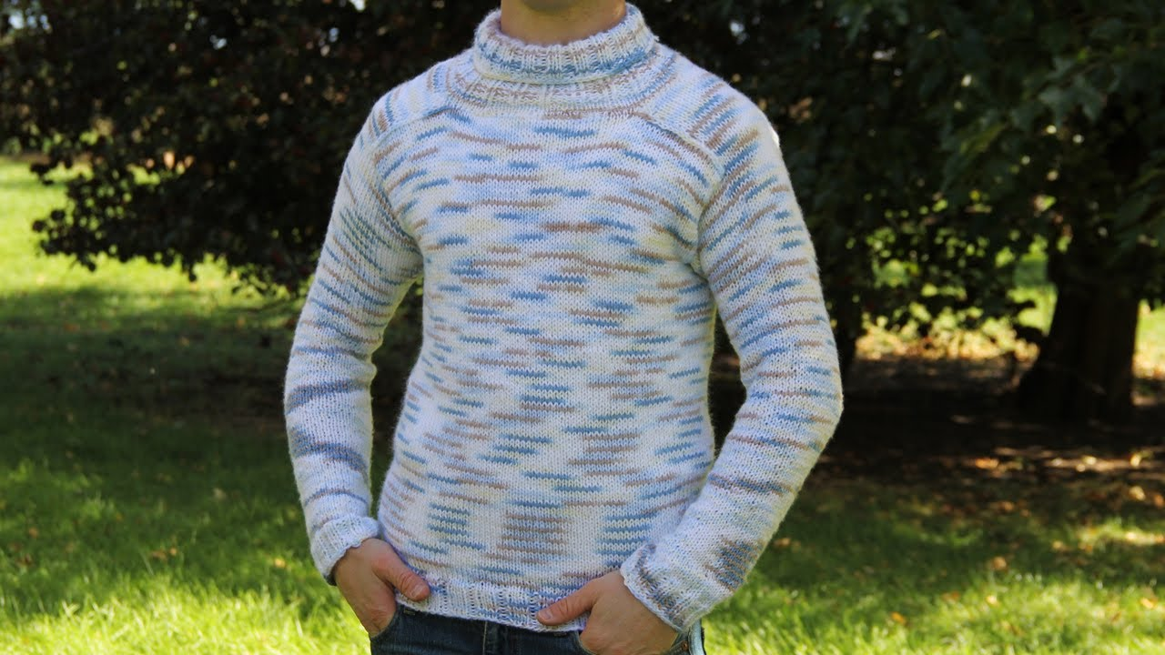 b84af51dc How to knit men s sweater - video tutorial with detailed ...