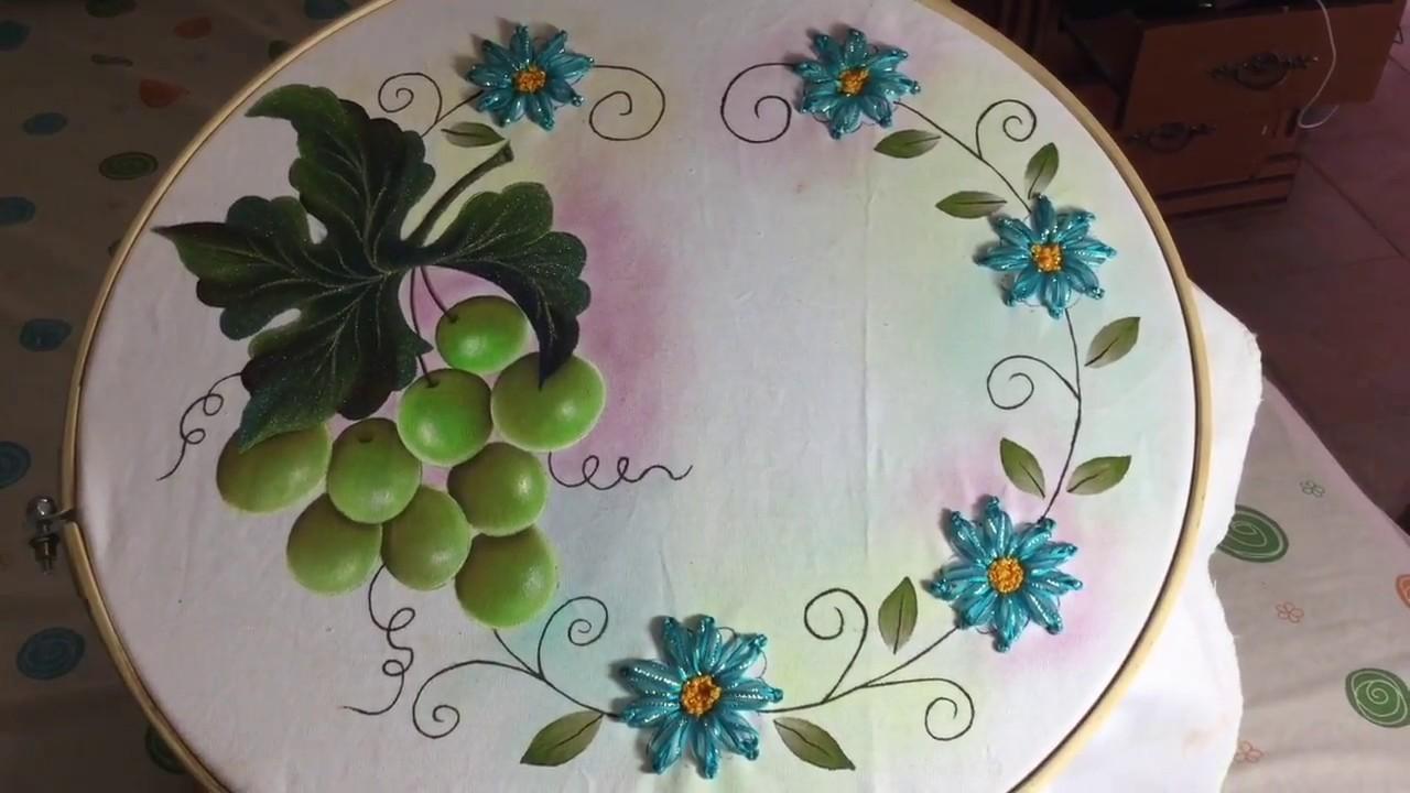 Pintura en tela uvas verdes terminadas youtube - Pintura en tela motivos navidenos ...