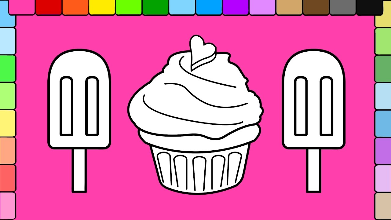 Learn Colors For Kids And Color Ice Cream Popsicle Heart Cup Cake Coloring Pages