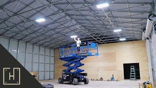 Building A Dream Shop  Installing LED High Bay Lights and Outlets