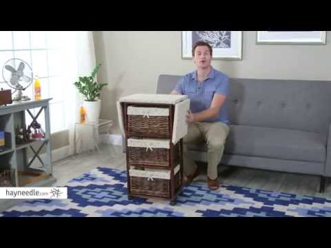 Wood Wicker Ironing Board Center With Baskets Product Review Video
