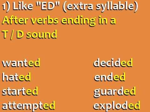 تعليم اللغة الانجيزية : نطق الافعال المنتهية ب ed || تمارين ed ending: