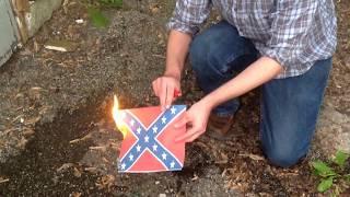 #burnthatflag Confederate flag burning! Burn every damn one
