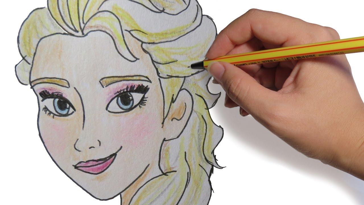 Como Dibujar A Elsa De Frozen Paso A Paso A Color Y Lapiz Facil