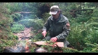 Cooking in the wild. Nature sounds and delicious food