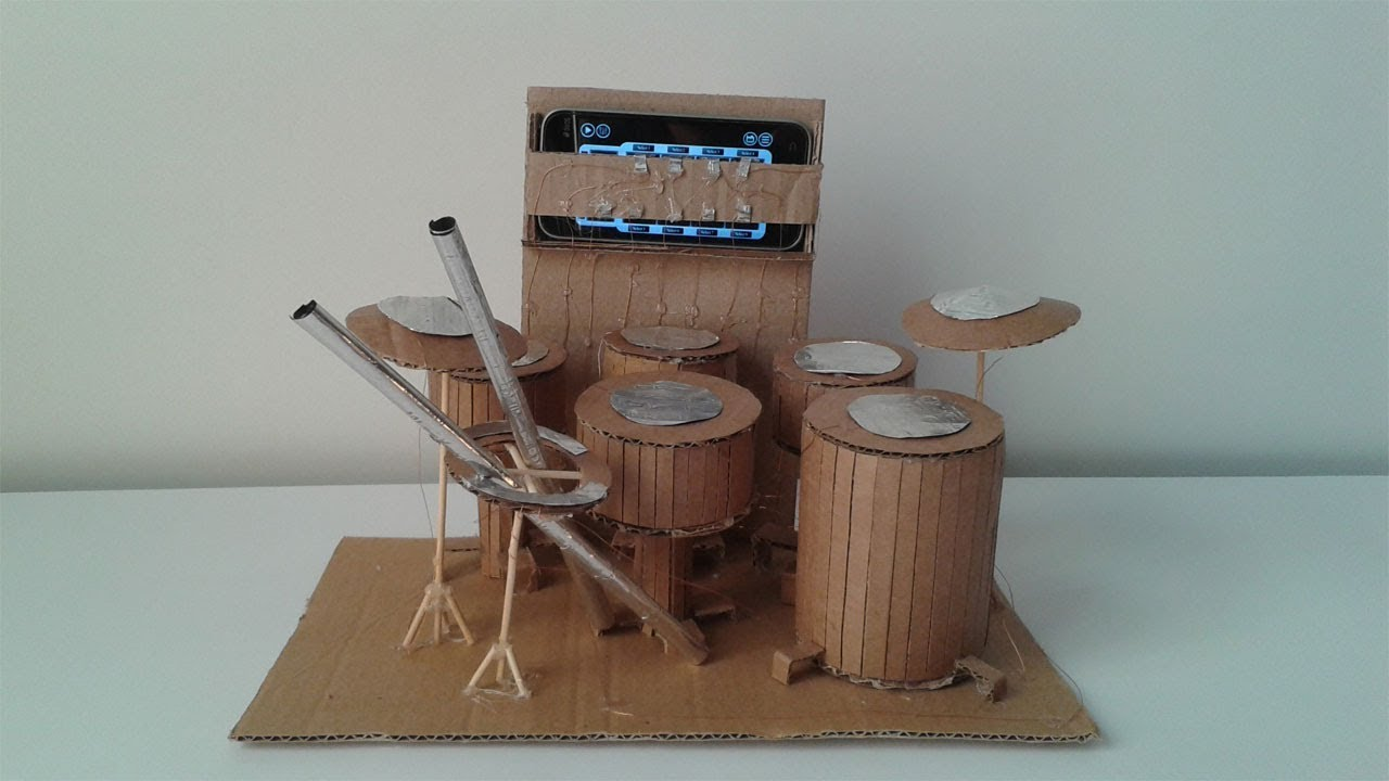 how to make a drum from cardboard youtube. Black Bedroom Furniture Sets. Home Design Ideas