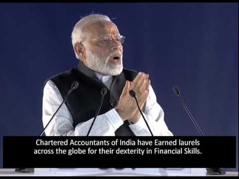 PM's Address on Chartered Accountant's day - Telugu version with english subtitles