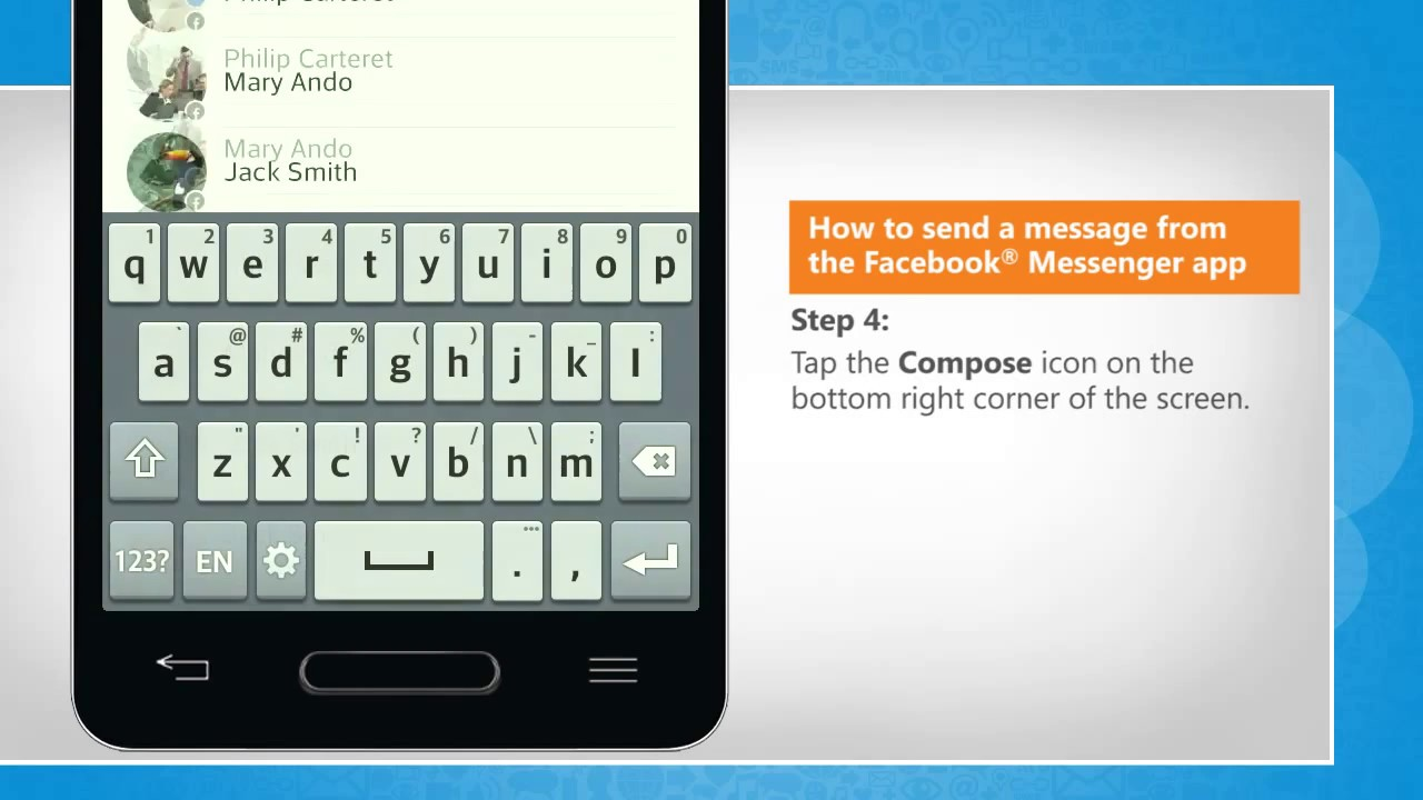 Facebook app send message
