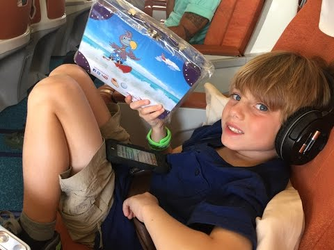 Air Mauritius Business Class with kids is fun! Take off footage included!