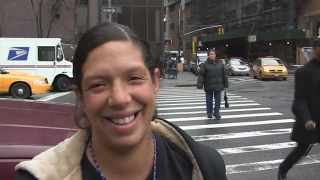 Homeless woman is pregnant and homeless. Last night she slept on a sidewalk near Times Square.