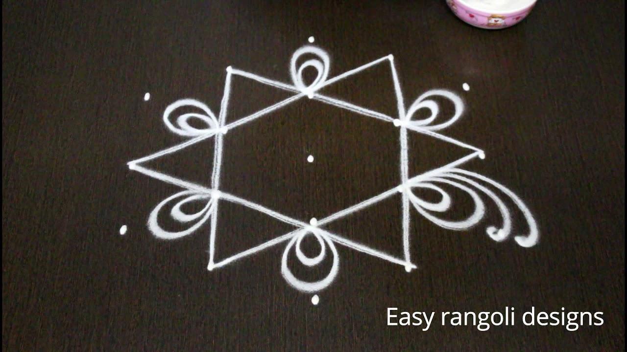 Simple Friday Kolam Designs With 5x3 Dots For Beginners Easy Rangoli Designs Muggulu Designs