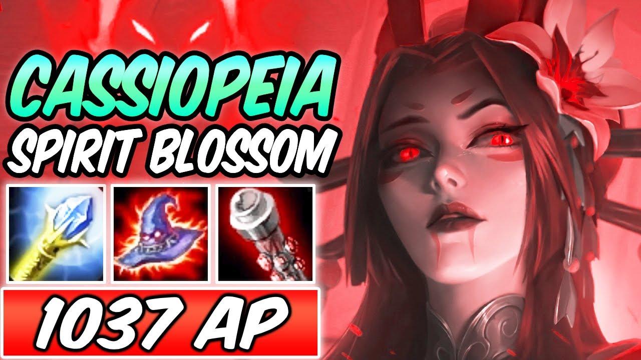 *1037 AP* NEW SPIRIT BLOSSOM CASSIOPEIA MID DARK HARVEST GAMEPLAY | Build & Runes -League of Legends