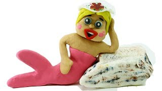 BECOMing A MERMAID! In Yellow Baby Superhero Stop Motion Cartoons For Kids