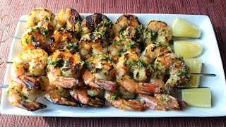Grilled Garlic & Herb Shrimp - How to Make Grilled Garlic Herb Shrimp Skewers