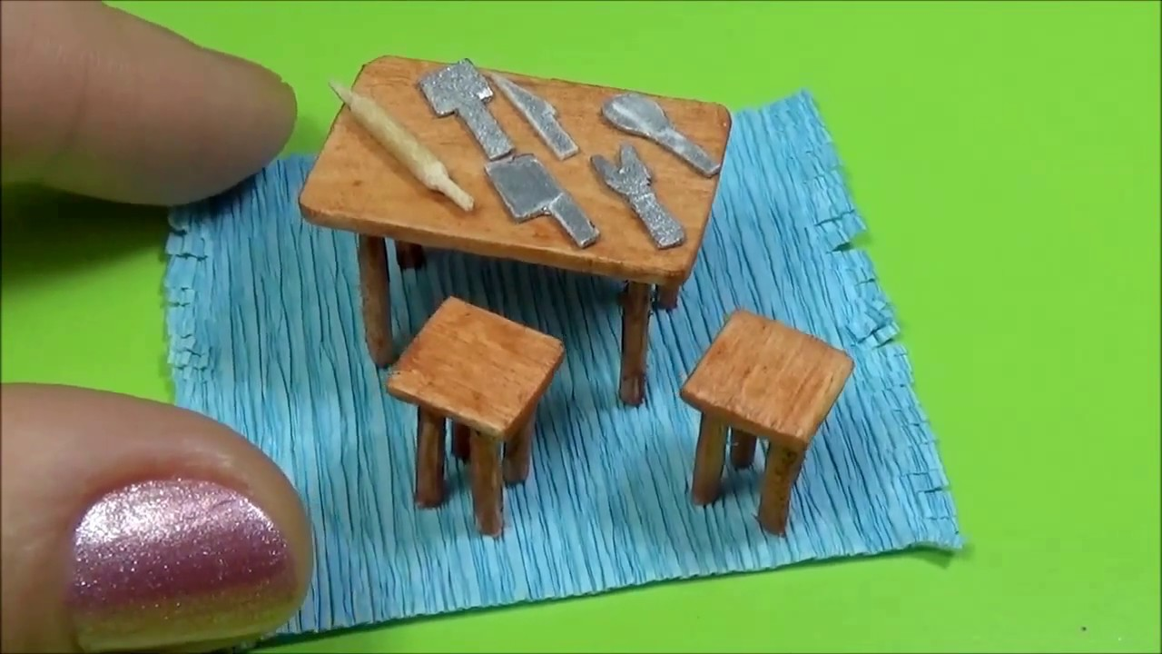 How to make a miniature kitchen Doll Stuff Miniature kitchen table ...