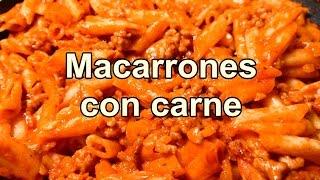 MACARRONES CON CARNE MOLIDA Y TOMATE - pastas- recetas de cocina faciles rapidas y economicas