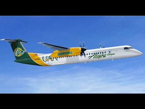 Painting the 'University of Alaska Anchorage Seawolf' - Alaska Airlines' 11th university-themed Q400