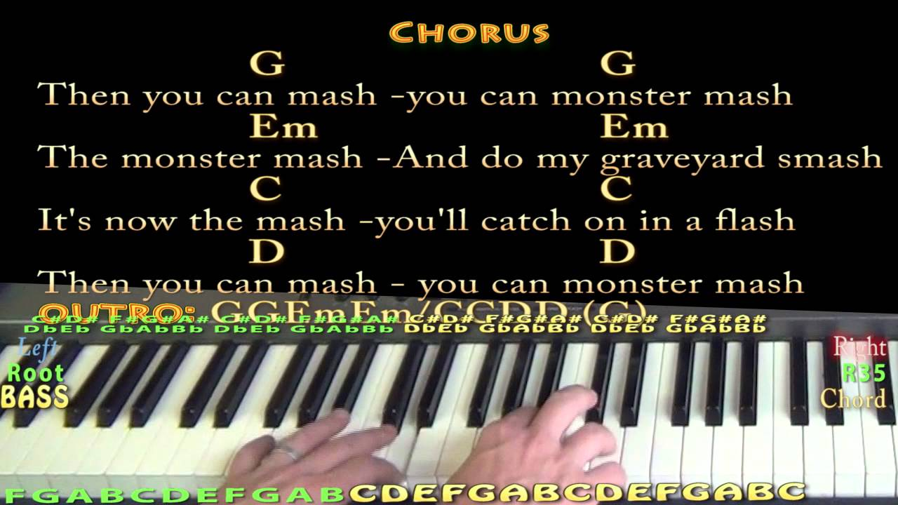 Monster Mash Piano Cover Lesson With Lyricschords Youtube