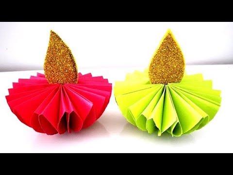 DIY - Paper Diya | Paper Candle | Diwali Decoration Ideas At Home | Diya Decoration