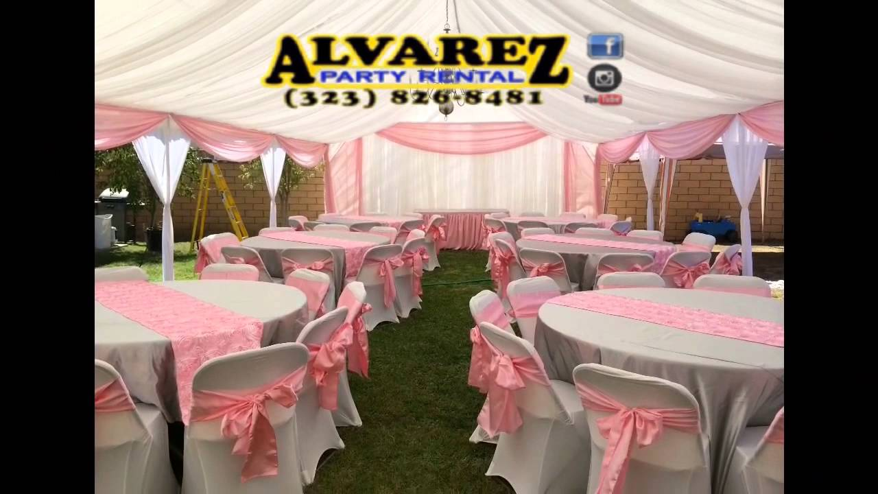 Alvarez party rental silver pink and white youtube for Indoor marquee decoration