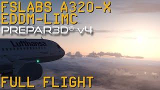Full Flight   FSLabs A320X   Munich to Milan Malpensa   P3D V4