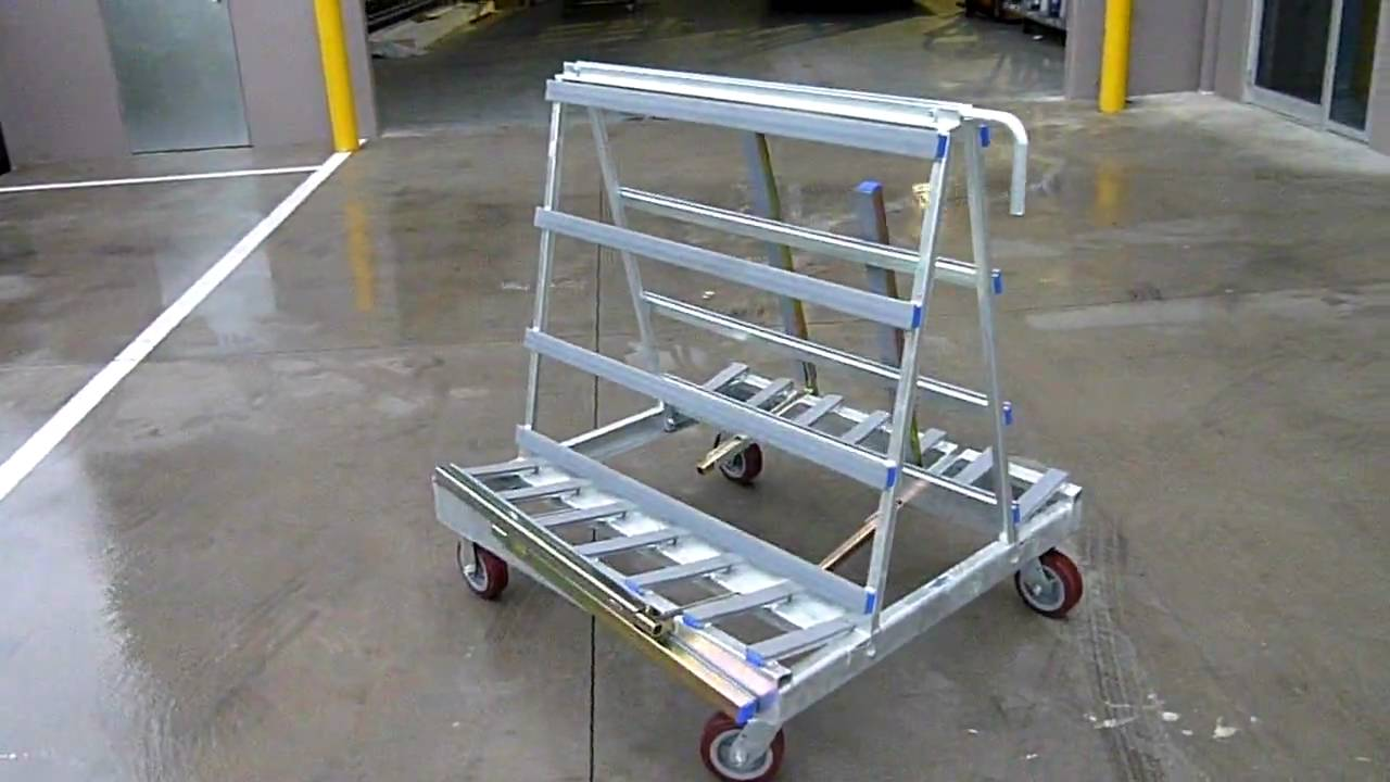 A Frame Trolley The Glass Racking Company Small Glass Trolley With Safety Arms